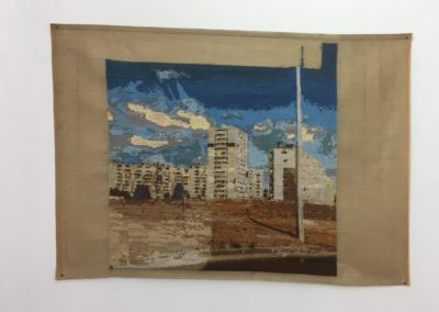Nina Sivager, Pénélope, 2019/2020, Fragment de paysage Marseillais, broderie au petit point, fils de laine sur canevas