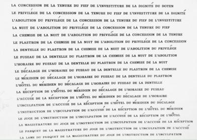 COMPLÉMENT DE NOMS - LE LANGAGE - 1990. Support de lecture, rouleau tapuscrit.