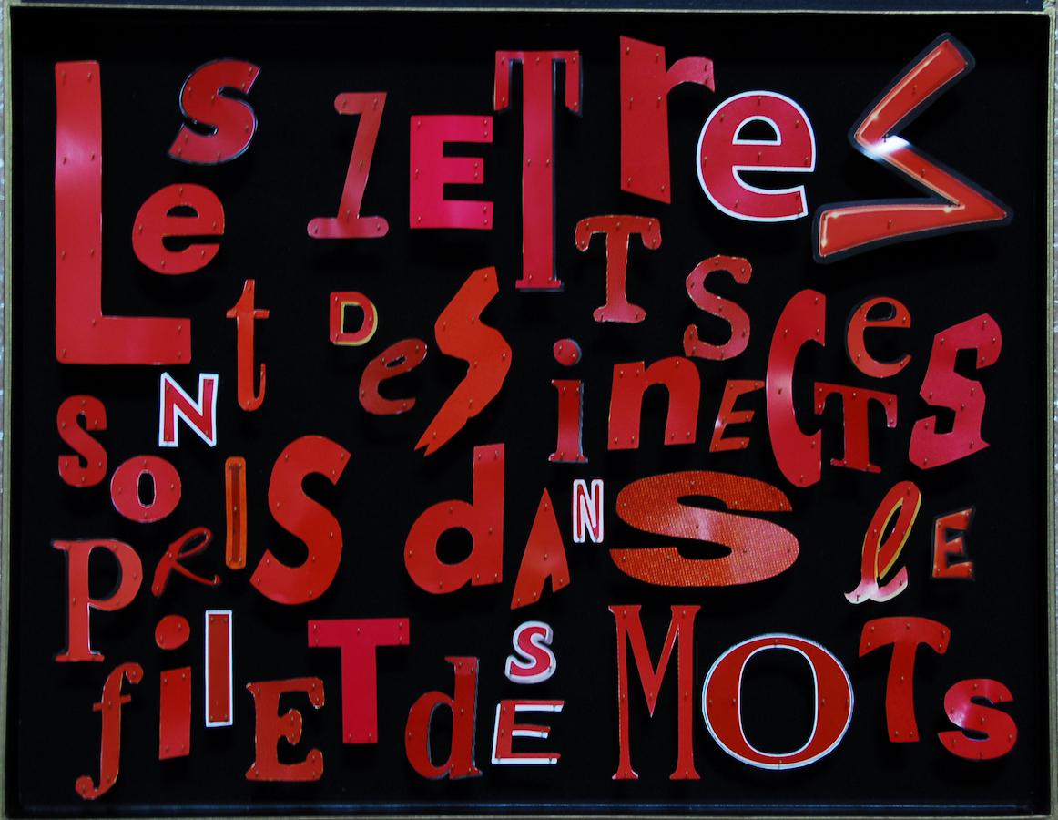 GIGANTEXTE N° 4 : LES LETTRES SONT DES INSECTES PRIS DANS LE FILET DES MOTS - 1997. 27 boîtes à papillons en velours, lettres découpées dans des affiches.