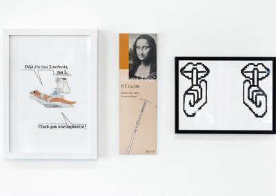 De gauche à droite : Lapinette, 2017, Encre et collage ; Mona Lisa, 2018 Boite de stérilet; Chut, 2017 Encre de chine. Crédit photo : Philippe Munda