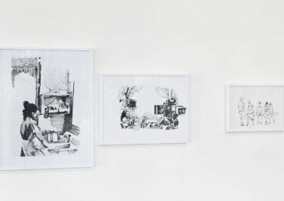 De gauche à droite : Stérile, 2017; Colo, 2017; L'attente, 2017; encres de chine). Crédit photo : Philippe Munda