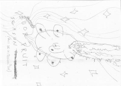 Sarah Netter, dessin sans titre, 2020, format A4, en collaboration avec Hayoung Kim, crayons et stylos sur feuille © scan d'Hayoung Kim et Sarah Netter| art-cade*